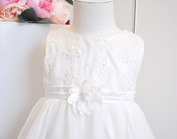 Embroidered Flower Dress White