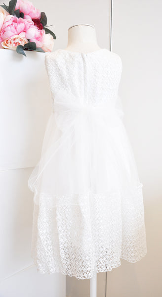 Sweet Crochet Tulle Dress White