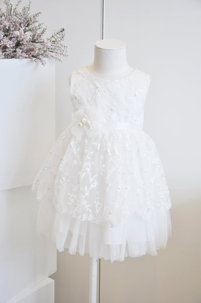 Floral Embroidered Tiered Dress White