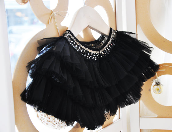 Jewel Tiered Tulle Cape Black (Baby)