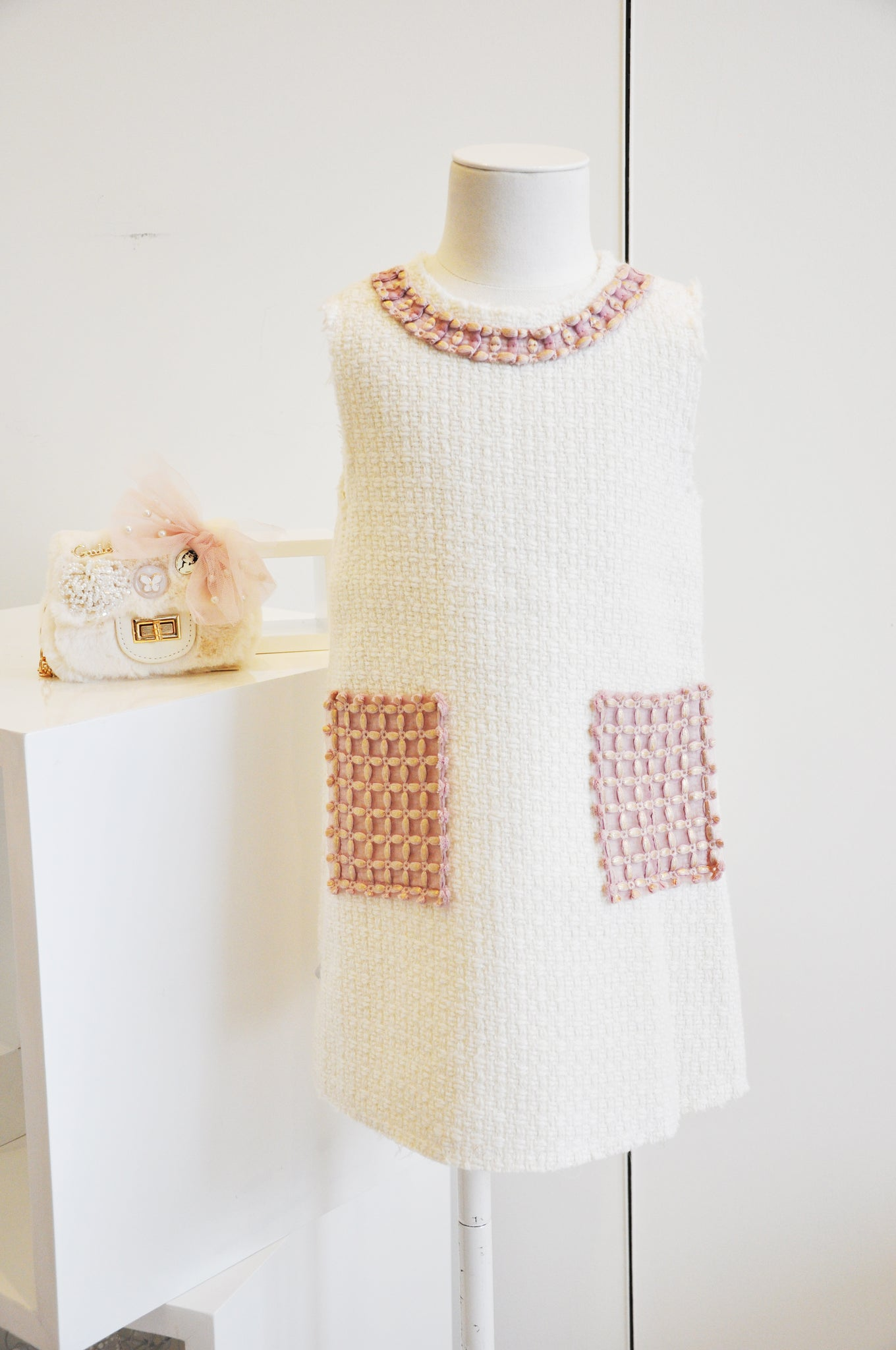 Golden Grid Straight Dress Ivory