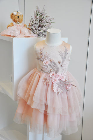 Exquisite Pattern Beaded Tiered Dress Pink