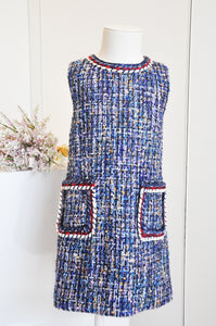 Braided Chic Straight Dress Blue Mixed
