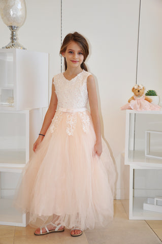 Pearl Floral Vine Tulle Dress Peach
