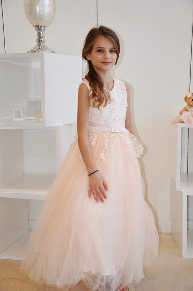 Pearl Floral Vine Tulle Dress Pink