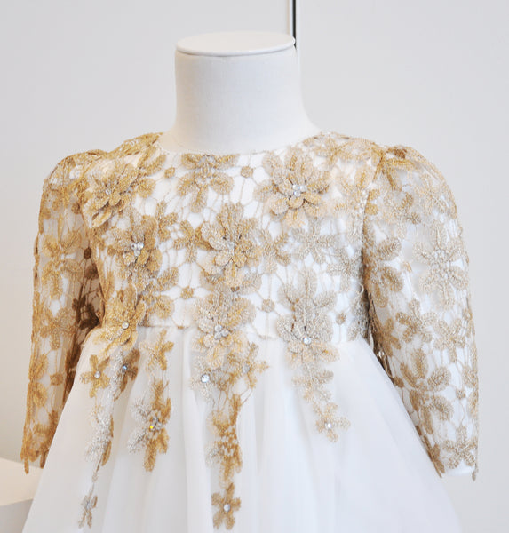 Floral Crochet Elegant Dress Gold