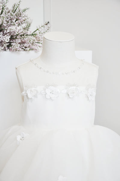 Princess Flower Tiered Dress White