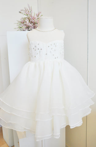 Elegant Pearl Sparkle Tiered Dress White