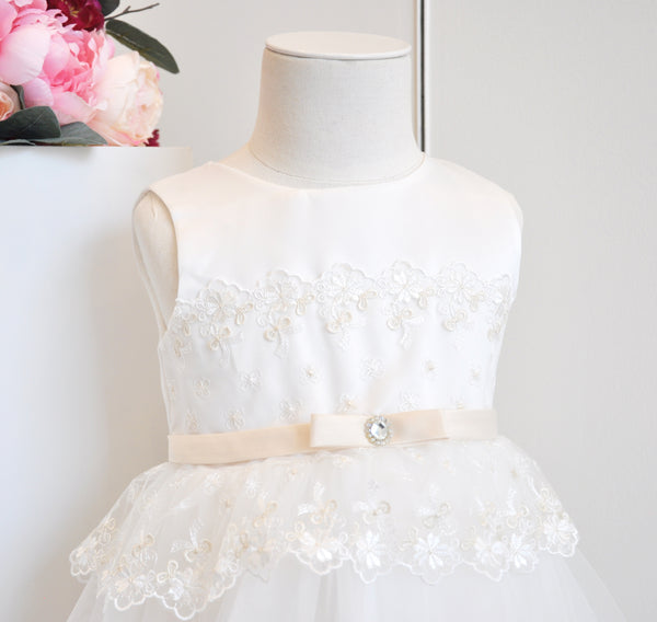 Floral Vintage Lace Layered Dress White