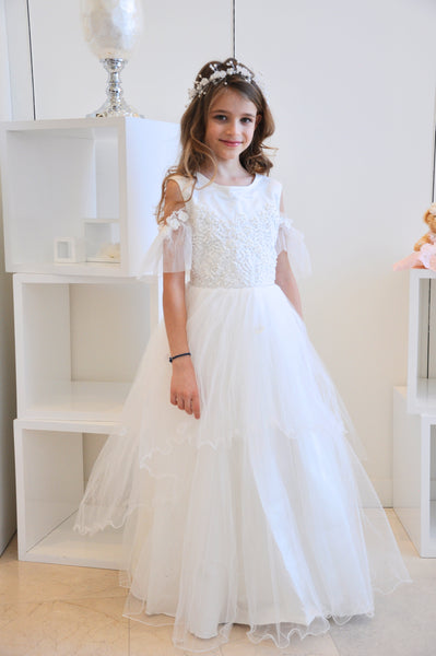 Lace Flare Shoulder Tulle Dress White