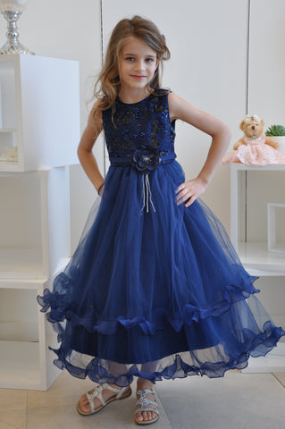 Sequin Floral Beaded Ruffle Tiered Dress Navy Blue