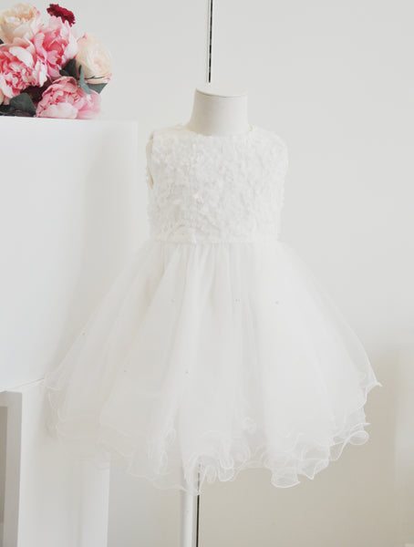 Little Princess Pearl Ruched Dress White