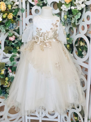 Floral Embroidered Off Shoulder Tiered Dress Champagne