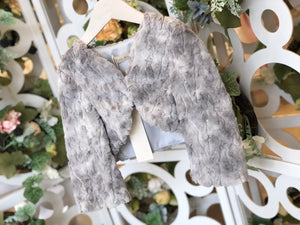 Sequin Furry Crop Blazer Grey