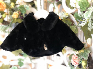 Simple Button Sweetie Fluffy Cape Black
