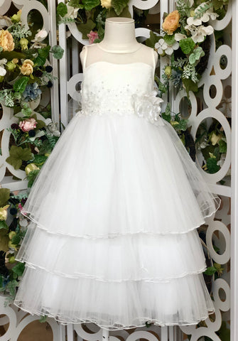 Elegant Pearl Flower Maxi Tulle Dress White