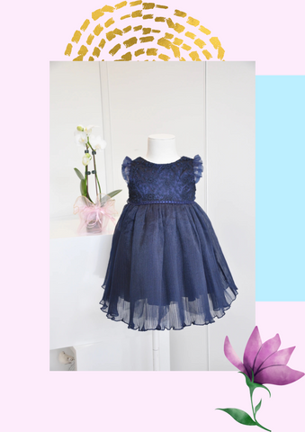 Floral Embroidered Accordion Pleat Dress Navy Blue