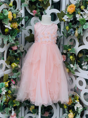 Pearl Blossom Tiered Dress Pink