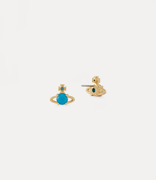 NEW- Vivienne Westwood Yellow Gold Turquoise Reina Earrings