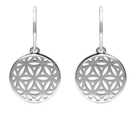 CW Sellors Sterling Silver Round Pierced Disc Hook Drop Earrings