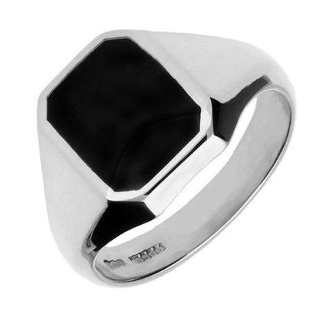 CW Sellors Sterling Silver Onyx Signet Ring