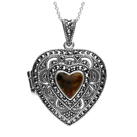 CW Sellors Sterling Silver Blue John Marcasite Heart Shaped Vintage Style Locket Necklace