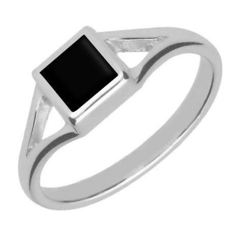 CW Sellors Sterling Silver Whitby Jet Square Split Shoulder Ring