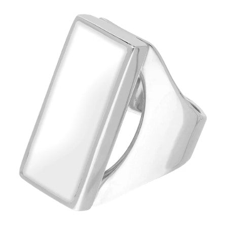 CW Sellors Sterling Silver Mother of Pearl Medium Oblong Ring