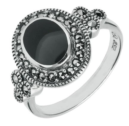 CW Sellors Sterling Silver Whitby Jet Marcasite Oval Beaded Edge Ring