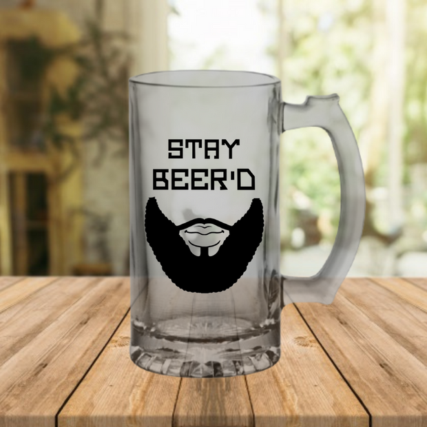 'STAY BEER'D' Glass Sports Mug