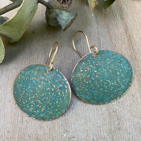 BRONZE AND VERDIGRIS EARRING-LARGE