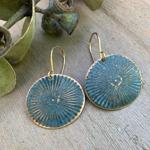 BRONZE AND VERDIGRIS EARRING-MEDIUM