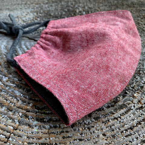LINEN/COTTON FACE MASK-RED