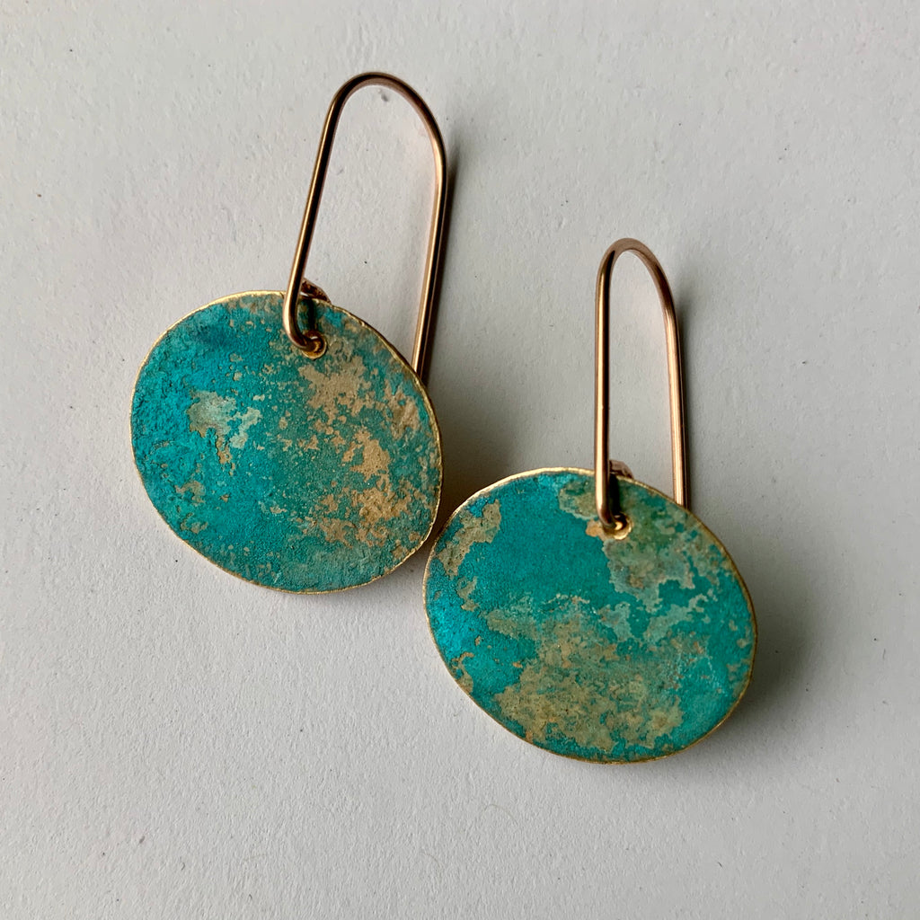 RUSTIC VERDIGRIS DISC EARRING-SMALL