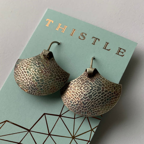 TEXTURED SILVER SHIELD EARRING
