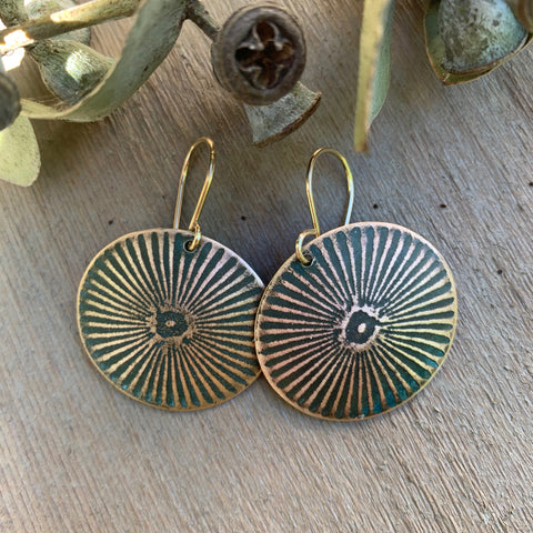 BRONZE AND VERDIGRIS EARRING