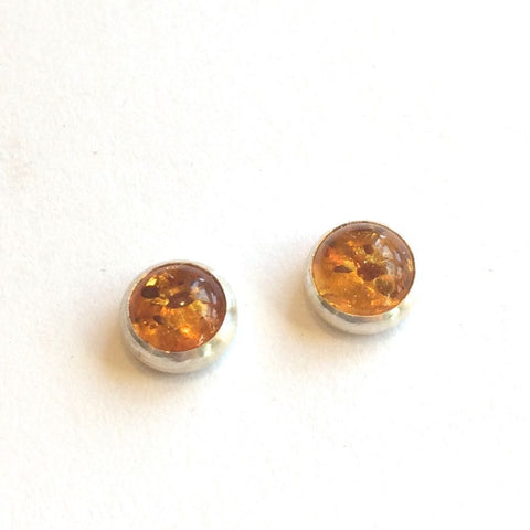BALTIC AMBER STUD EARRING