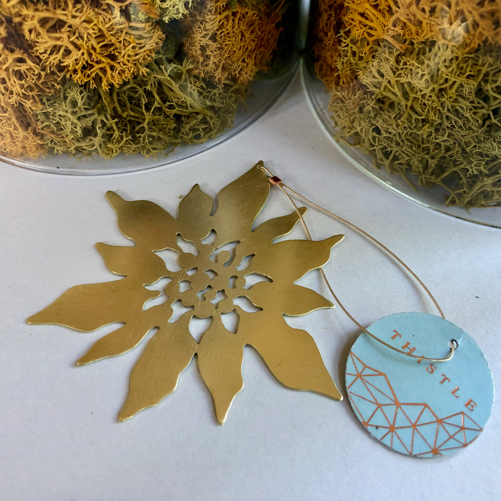BRASS POINSETTIA ORNAMENT