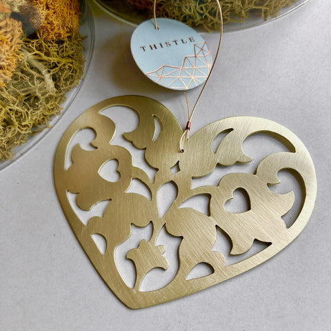 BRASS CUTWORK HEART ORNAMENT
