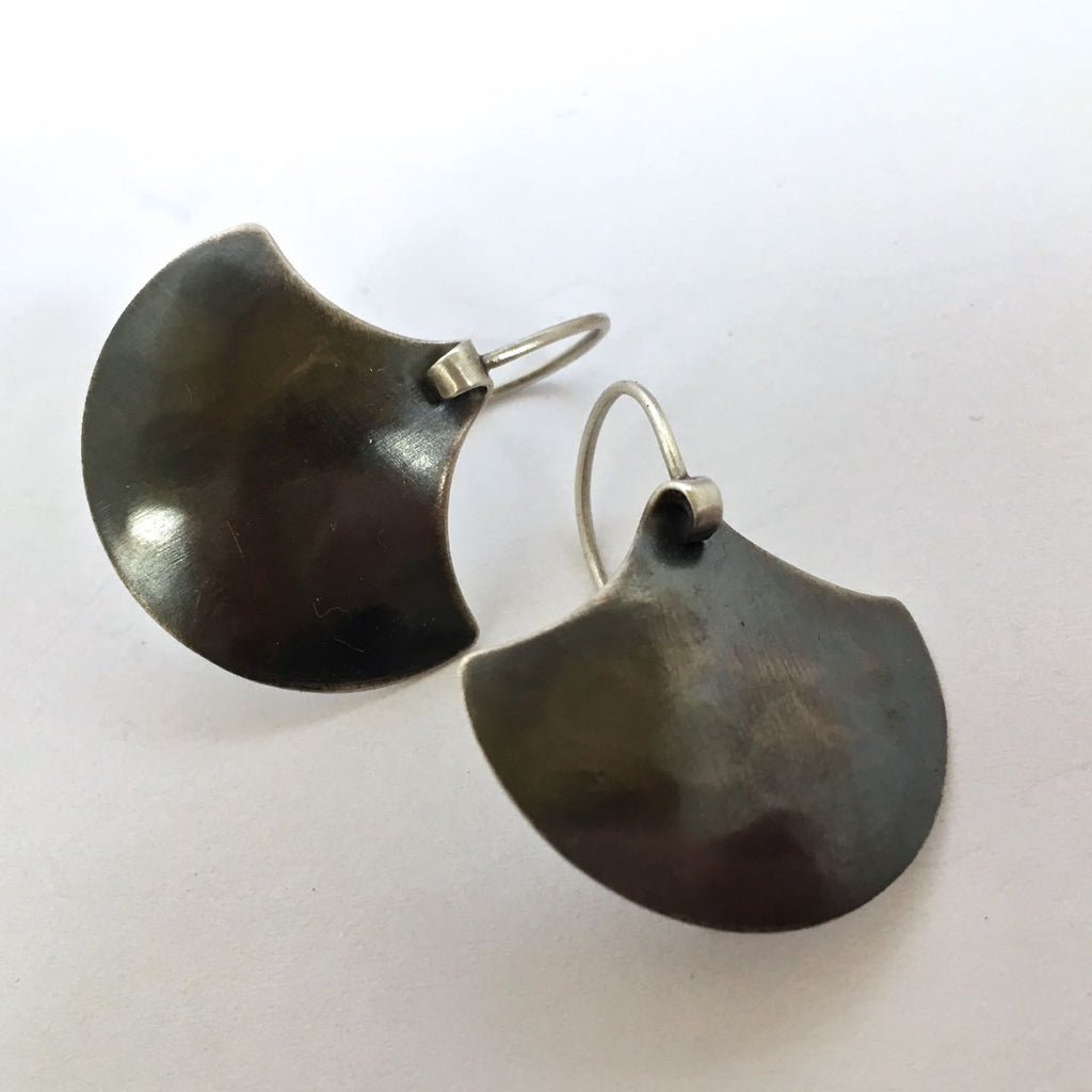 SILVER SHIELD EARRING-OXIDIZED