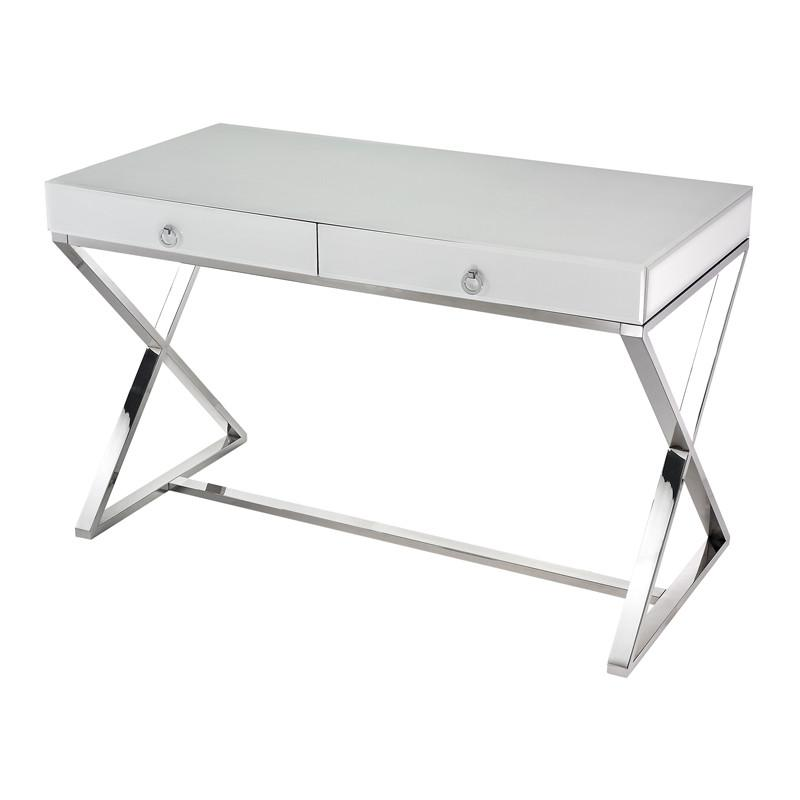 Maizie White Glass Desk  Lazy Susan Desk