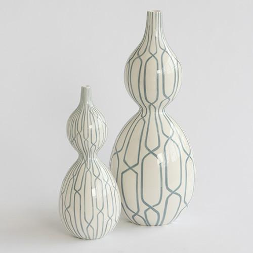 Linking Trellis Ceramic Vase  Global Views Vase - 2