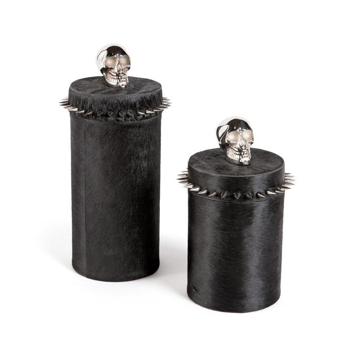 Cowhide and Chrome Skull Container Boxes Go Home Ltd.