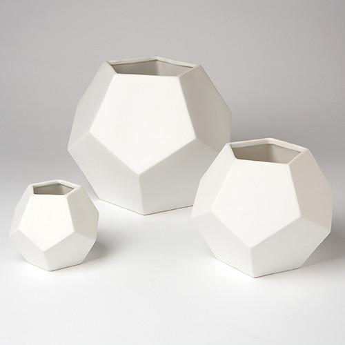 White Faceted Ceramic Vase  Global Views Vase - 2