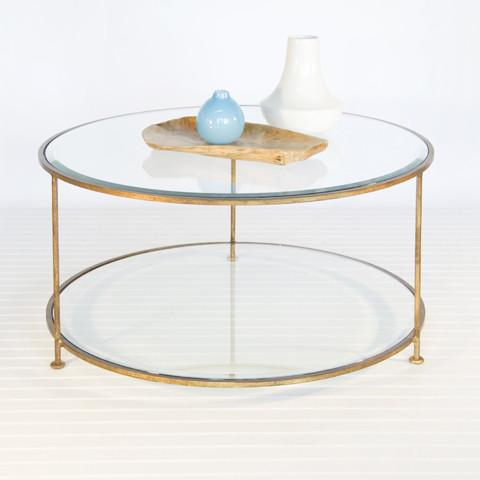 Rollo Coffee Table Coffee Table Worlds Away Gold Leaf