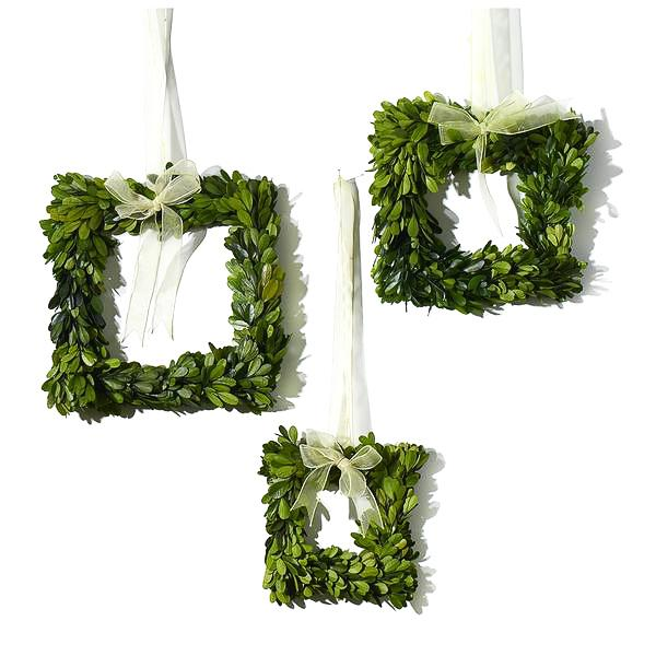 Artificial Boxwood Square Wreath