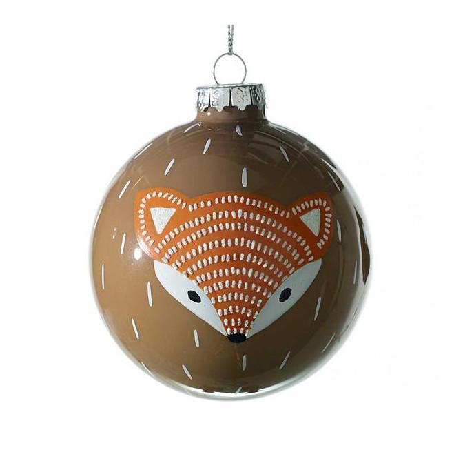 Wild Fox Glass Ornament