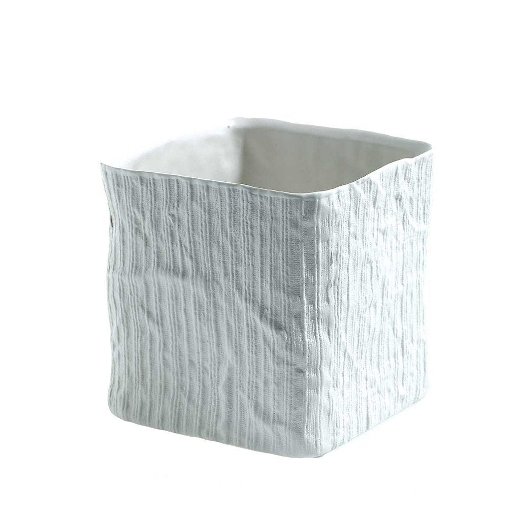 Linen Cube Small Accent Decor Vase