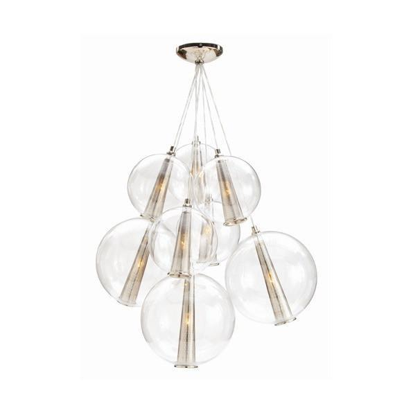 Caviar Glass Pendant Lighting Arteriors Polished Nickel Cluster