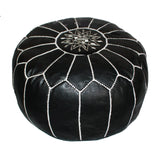Leather Moroccan Pouf Black Badia Design Pouf - 1